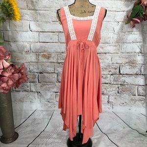 Umgee Handkerchief Hem Boho Crochet Midi Dress